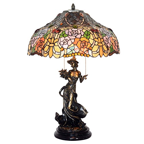 Bieye L10440 18-inches Rose Garden Tiffany Style Stained Glass Table Lamp with 100% Brass Beautiful Girl Base