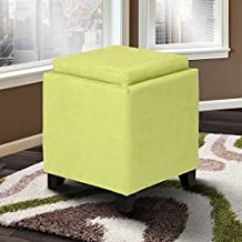 Armen Living LC530OTMFGR Rainbow Ottoman in Green Fabric and Black Wood Finish
