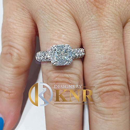 14k solid white gold princess, round, and baguettes cut simulated diamond engagement ring art deco bridal wedding anniversary halo 2.00ct