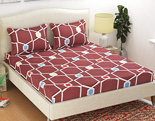 HFI Homefab India Polycotton Double Bedsheet with 2 Pillow Covers - Contemporary, Burgundy (B07WX2CQYR) Amazon Price History, Amazon Price Tracker