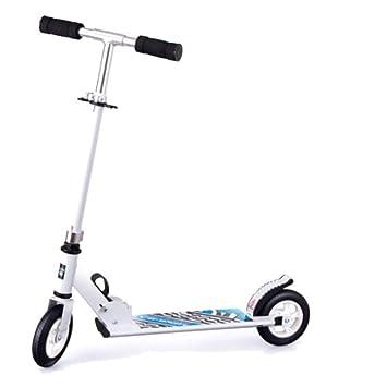 ZHIJINLI Scooter para niños Big Boy Scooter De Dos Ruedas Rueda Grande Scooter Cochecito de Dos Ruedas Plegable y Plegable para niños Grandes Scooter White ...