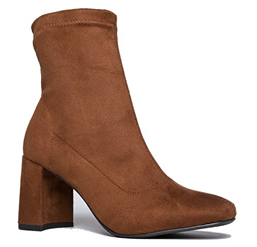 J. Adams Stretch Suede Ankle Bootie - Sleek Zip Up Boot - Comfortable Everyday Pull On Heel - Kinsley