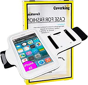 For iPhone 6S - Coverking Sports Running Jogging Cycling ArmBand Pouch Key Strap Holder - White