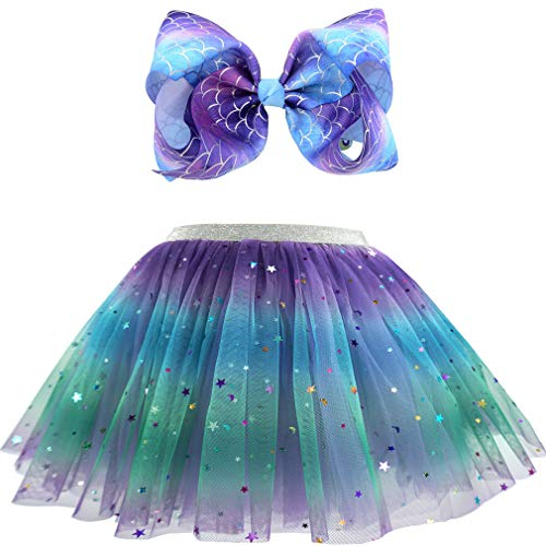 Childrens Dressing Up (Girls Layered Tulle Rainbow Tutu Skirts with Colorful Hairbow or Butterfly Headband, Girls Dressing Up,Dancing Party Tutu. (Bow-Deep Purple, 2-7 Years)