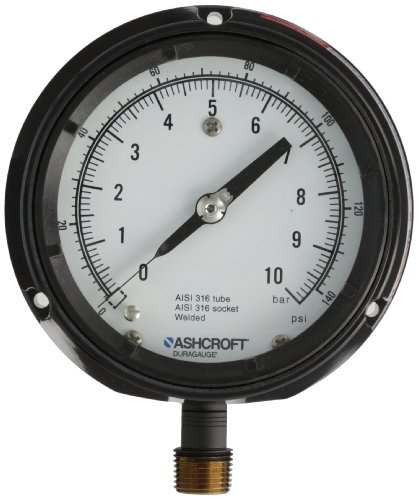 Ashcroft Duragauge Type 1279 Black Phenolic Case Pressure Gauge, 316 Stainless Steel Bourdon Tube and Tip, 316 Stainless Steel Socket, Solid Front Case, 4.5