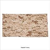 Vipsung Microfiber Ultra Soft Bath Towel Camo Us Marine Desert Marpat Digital Texture Background In Brown Colors Brown Light Brown Cinnamon For Hotel Spa Beach Pool Bath