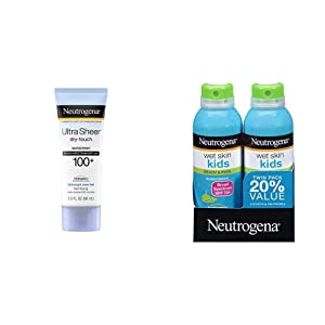 Neutrogena Ultra Sheer Dry-Touch Water Resistant and Non-Greasy Sunscreen Lotion, SPF 100+, 3 fl. oz and Neutrogena Wet Skin Kids Sunscreen Spray, Broad Spectrum SPF 70+, 5 oz 2PK