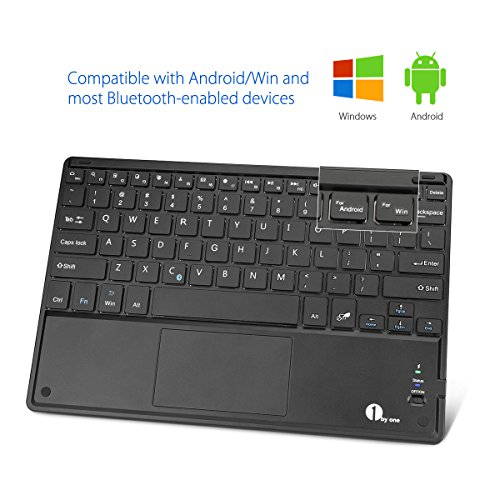 1byone Ultra-Slim Wireless Bluetooth Keyboard with Built-in Multi-touch Touchpad and Rechargeable Battery for Android and Windows, Black by 1byone (Image #3)