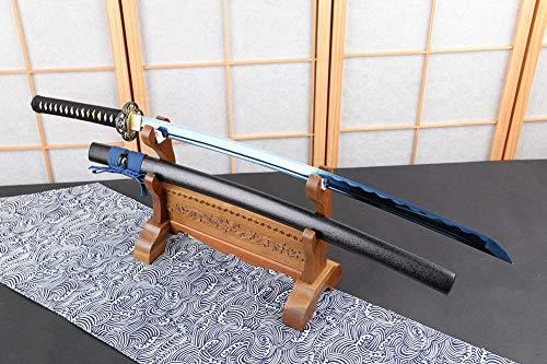 SJ SHI JIAN Electroplated Noble Blue Carbon Steel Wavy Hamon Battle Ready Sharp Blade Full Tang Japanese Samurai Katana Sword