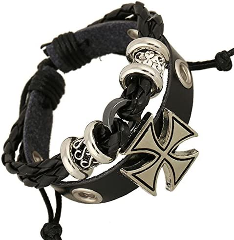 Miya® Super Cool Punk Brazalete de glamour pulsera de piel con cruz brillantes bolas y perlas, piel Tiempo de acero inoxidable, Vieja Style, para hombre mujer, forma 003