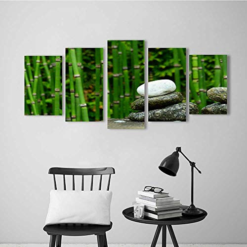 (5 Pieces Modern Wall Art Decor Frameless A Cobblestone Beside a Bamboo Forest for Home Print Decor for Living Room)
