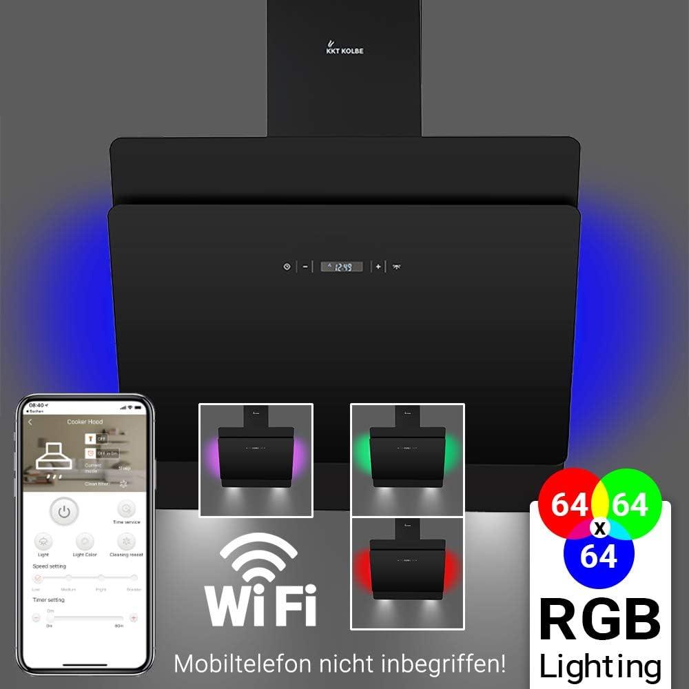 Campana extractora de pared (60cm, acero inoxidable, cristal negro, 605m³/h, iluminación LED RGBW, control WIFI, teclas sensoriales TouchSelect) SOLO607SM - KKT KOLBE