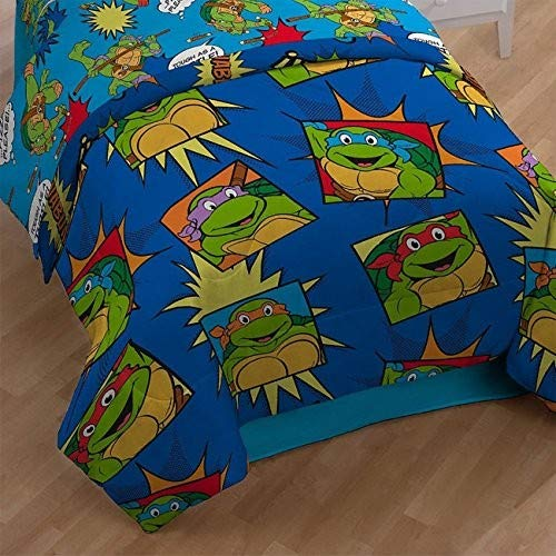 NIckelodeon Teenage Mutant Ninja Turtles Team Turtles Twin Comforter - Super Soft Kids Reversible Bedding features the Turtles - Fade Resistant Polyester Microfiber Fill (Official NIckelodeon Product) by Jay Franco (Image #3)
