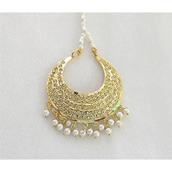 Amazon Com Jadau Chand Tikka India Indian Gold Tikka Head Tika