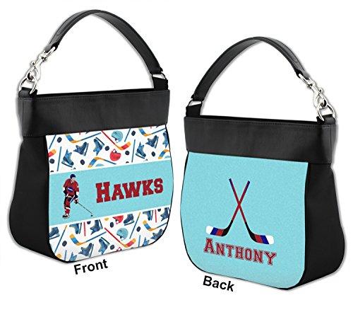 amp; Front Back Leather Genuine Hockey Purse Hobo w Trim Personalized 2 7qnwUOn8