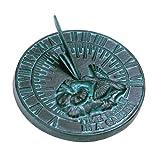 Rome 2532 Hummingbird Sundial, Cast Iron with Verdigris Finish, 7.5-Inch Diameter