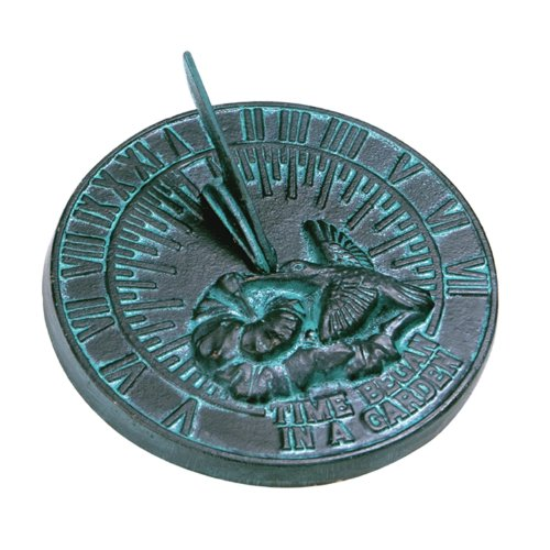 Rome 2532 Hummingbird Sundial, Cast Iron with Verdigris Fini