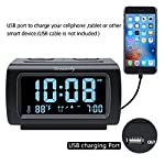 "DreamSky Decent Alarm Clock Radio FM Radio, USB Port Charging, 1.2"" Blue Digit Display Dimmer, Temperature Display, Snooze, Adjustable Alarm Volume, Sleep Timer."