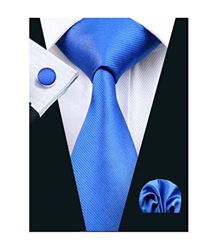 Woven Solid Color (Barry.Wang Bright Blue Tie Set Hanky Cufflinks Solid Color Woven Ties,Bright Blue,One Size)