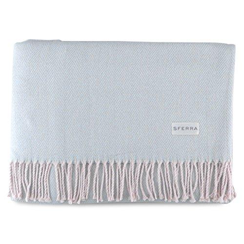 Sferra Celine Herringbone, 100% Cotton Throw Blanket - Blue from Sferra