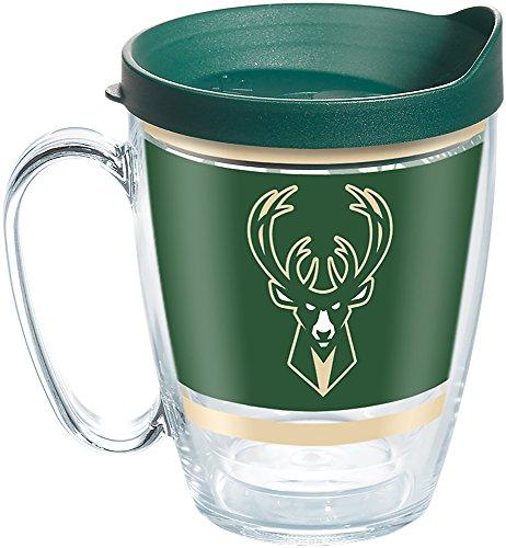 Tervis 1266509 NBA Milwaukee Bucks Legend Tumbler with Wrap and Hunter Green Lid 16oz Mug, Clear