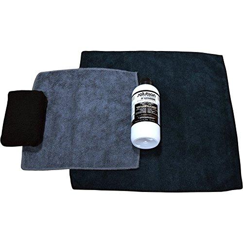 FULL INSTALLATION KIT: 12 oz SOLUTION FINISH Black Plastic Trim Restorer SUPER SIZE 12 oz + 2 Microfiber Towels + Applicator Sponge + Gloves