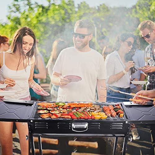 Barbecue Charbon de Bois BBQ Acier Inoxydable Grill Barbecue à Charbon de Pliable Four Barbecue Portable Grill Pliant Portatif Pique-Nique de Jardin Pique-nique Camping Pour 5-10 Personnes