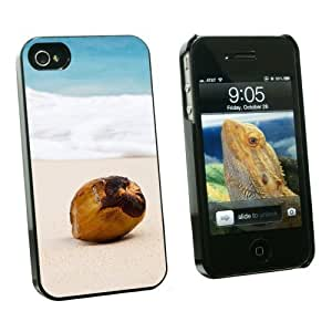 Graphics and More Coconut on Beach - Tropical Deserted Island - Snap On Hard Protective Case for Apple iPhone 4 4S - Black - Carrying Case - Non-Retail Packaging - Black by ruishername