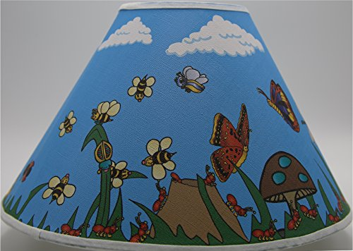 Bugs Garden Lamp Shade/Bug Childrens Nursery Decor with Lady Bugs, Dragonfly, Bees, Butterfly, Rolly Poley, Ants, Spiders, Grasshopper, Snail, Caterpillar and More by Presto Wall Decals