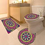 Printsonne 3 Piece Toilet mat Set Decor Geometric Floral Meditation Design Psychedelic Round Accessories Pink Navy Blue 3 Piece Shower Mat Set