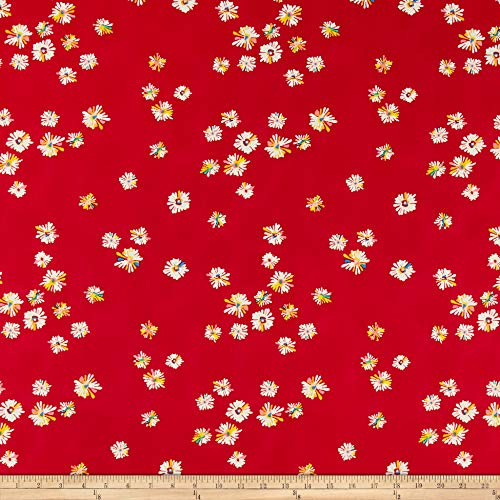 Art Gallery Fabrics Art Gallery Sun Kissed Hazy Daisies Scarlet Fabric, 1, Red, Fabric by the Yard