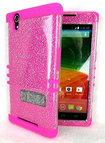 ZTE ZMAX Z970 Cover Case Transparent Glitter with Pink Shock Resistant Hybrid (Zte Zmax Phone Case Pink Hybrid)