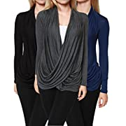 Free to Live Women's Criss Cross Cardigans, Black/Charcoal/Navy, Large (Pack of 3)