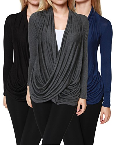 Free to Live Women's Criss Cross Cardigans, Black/Charcoal/Navy, Medium (Pack of 3)
