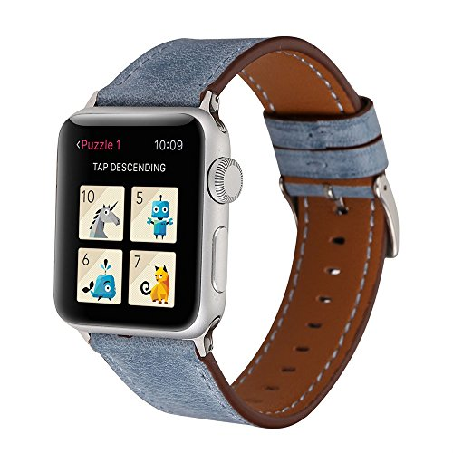 Cywulin Compatible with Apple Watch Band 38mm 40mm 42mm 44mm, Leather Replacement Bands Loop Wrist Strap Bracelet for iWatch Series 4 3 2 1 with Stainless Metal Hook Loop Fastener (42mm/44mm, Navy) ()
