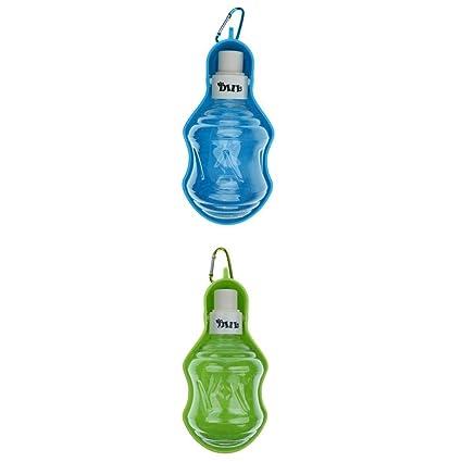 perfk 2 Unids Botella de Agua Portable de Perro Gato Mascota Comedero Plegable