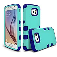 Galaxy S6 Case, MagicMobile® Hybrid Protective Dual Layer Shockproof Rubberized Silicone + Hard PC Shell Tough [ARMOR] Impact Heavy Duty Resistant Durable Case Cover for Galaxy S6 (Teal - Blue)