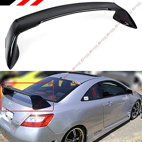 (Cuztom Tuning Fits for 2006-2011 8TH Gen Honda Civic 2 Door Coupe Painted Black Mug RR Style Trunk Spoiler Wing)