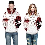 Halloween Women Men Ghost 3D Printing Long Sleeve Hoodie Sweatshirt Pullover Top By Farjing (L/XL,Red )