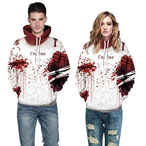 MOKO-PP Halloween Women Men Blood 3D Printing Long Sleeve Hoodie Sweatshirt Pullover Top(XXXL)