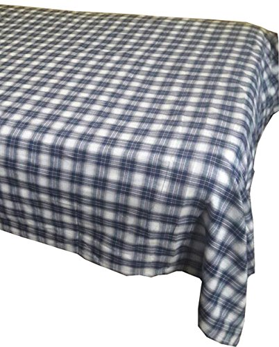 Merino Mohair Lace (KVR Cotton Vintage madras plaid check Pattern woven rectangle table cloth cover Dinner Picnic Home Decoration Washable (56X80 inch, Cream-Black plaid))