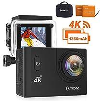 CAMKONG 4K Action Cam WIFI Sport Camera con Custodia Impermeabile 12 MP 170¡ã Grandangolare 2.0 Pollici due 1350mAh Batterie e Kit Accessori con Pacchetto Portatile (Nero) ¡
