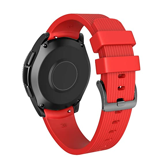 NotoCity 20mm Band Compatible Samsung Galaxy Watch 42mm Silicone Watch Band Samsung Gear S2/Gear Sport/Vivoactive 3/Huawei 2 Smartwatch (Red, Large)