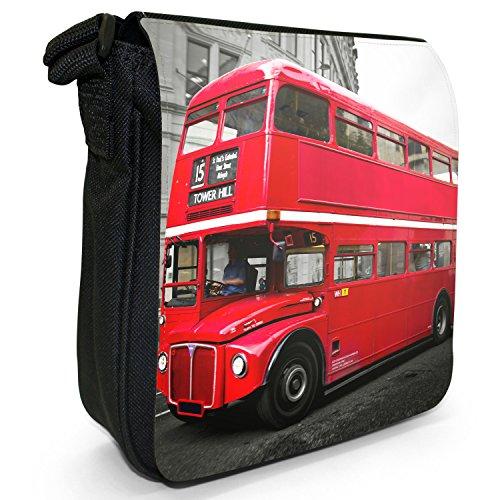 Size Decker Red Shoulder Bag Bus Small London Black Canvas Double 8qp7B7