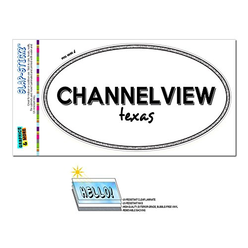 Graphics and More Euro Oval Window Bumper Glossy Laminated Sticker Texas TX City State Bur - Den - Channelview