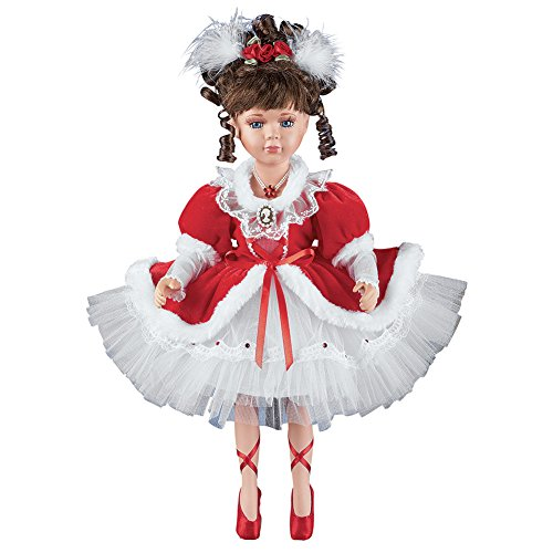 Collections Etc Women's Nancy Red Dress Porcelain Ballerina Doll with Curly Brown Hair