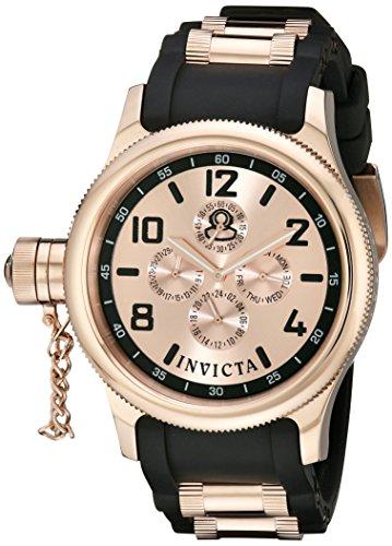 Invicta Men's 1804 Russian Diver Rose Dial Black Polyurethane Watch