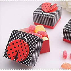 50 Pcs Laser Cut Cute Bug Shape Wing Ladybug Wedding Gifts Box Candy Boxes Gift Favor Box Baby Shower Wedding Party Supplies