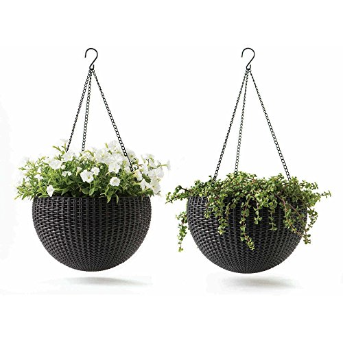 Potting Soil Costume (Natural Round Rattan Design Weather Resistant Hanging Planters, 2-Pack)