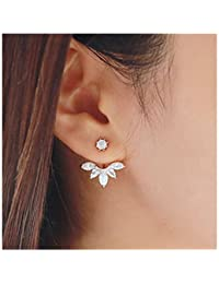 Elensan Fashion Gold Plated Leaf Crystal Ear Jacket Double Sided Swing Stud Earrings Gift